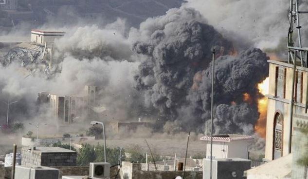 حمله جنگده های ائتلاف سعودی به نِهم در شمال شرقی صنعاء
